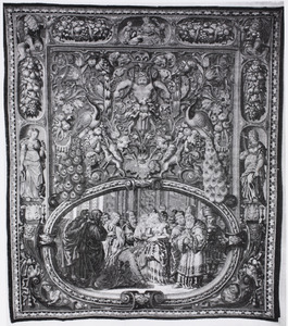 Christus en de overspelige vrouw in een cartouche