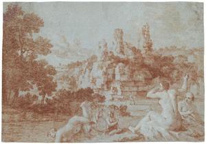 Badende nimfen bij het zogenaamde graf der Horatii en Curiatii bij Albano