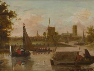 Schepen op de rivier de Rotte bij Rotterdam