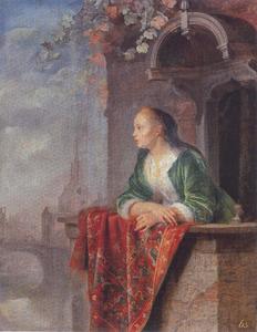 Jonge vrouw op een balkon, in de achtergrond de Leidse Blauwpoort