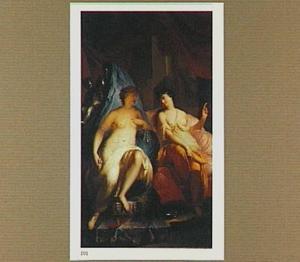 Twee allegorische vrouwenfiguren op een altaar in een interieur