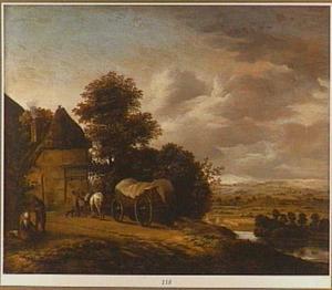 Heuvelig landschap met een boerenkar bij een huis
