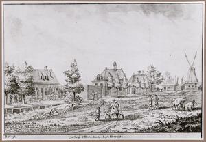 Gezicht op herberg 't Houtenbeentje aan het Zwarte Water te Utrecht met rechts zaagmolen De Haas