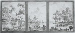 Wandontwerp met drie behangselvlakken met een doorlopend rivierlandschap
