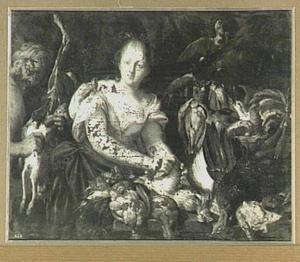 Jonge vrouw bij een uitstalling van gevogelte