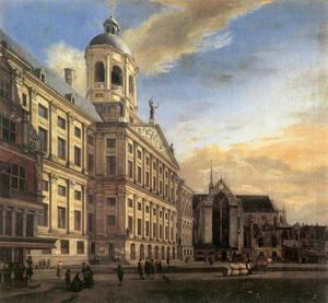 Gezicht op het stadhuis van Amsterdam