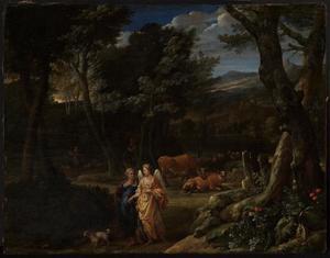 Tobias en de engel in een boslandschap
