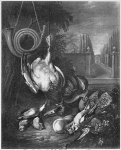 Jachtbuit van gevogelte, vruchten  en een jachthoorn met rechts doorzicht naar een tuin