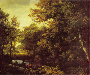 Boslandschap met twee vissers