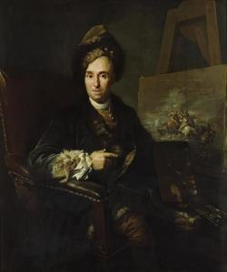 Portret van  Ignace-Jacques Parrocel, schilder van veldslagen,