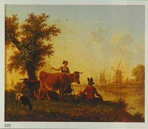 Rivierlandschap met herderin en vee