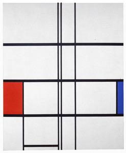 Composition en blanc, rouge et bleu