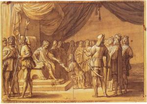 Koning Frode Fredegod van Denemarken gehuldigd door andere koningen