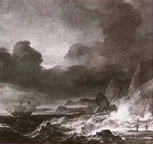 Een tweemaster op stormachtige zee voor een rotsachtige kust