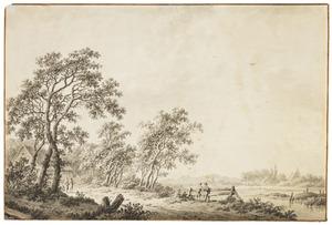 Neder-Rijns rivierlandschap met dorp en figuren