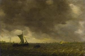 Riviermonding met schepen in opkomende storm