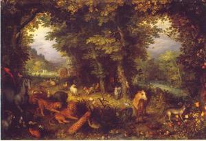 Paradijslandschap met dieren; allegorie van het element aarde