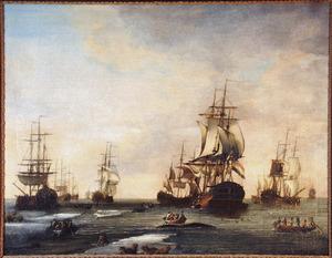 Een groot aantal Hollandse schepen, waaronder 'De Korenbeurs van Amsterdam' in de Noordelijke IJszee tijdens de walvisjacht