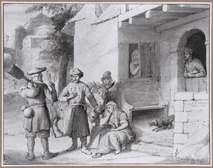 De oude man te Gibea biedt gastvrijheid aan de Leviet en zijn bijwijf (Richteren 19:16-18)