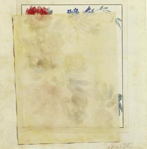 'Trompe l'oeil' van een getekend doorzichtig papier over een bloemstilleven van rozen en vergeet-mij-nietjes