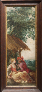 Amoreus herderspaar rustend onder een afdak