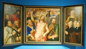 Triptiek met Christus, Johannes de Evangelist, Petrus en donorportretten en hun heiligen
