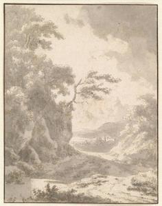Zuidelijk landschap, pad naast een heuvel