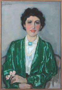 Portret van een dame in een witte blouse en groen jasje