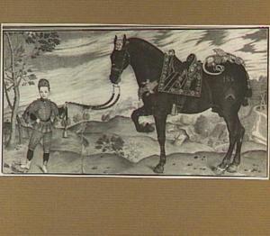 Heuvellandschap met page die een zwart paard aan zijn leidsels vasthoudt