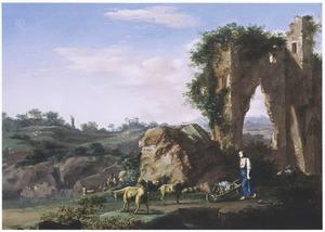 Zuidelijk landschap met een een kruiwagen voortduwende vrouw en een geitenhoeder bij een ruïne