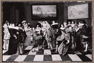 Elegant gezelschap van rokende en drinkende dames en heren in een interieur