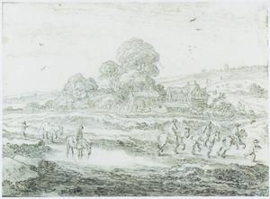 Landschap met ruiters bij een drenkplaats