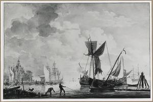 Riviergezicht met schepen bij de ooster  Oudehoofdpoort aan de ingang van de Oudehaven, Rotterdam