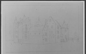 Linker- en voorzijde van Slot Assumburg bij Heemskerk, ca. 1646