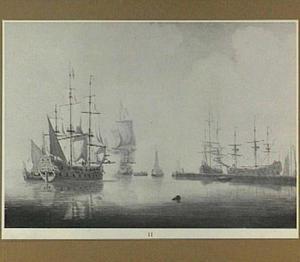 Oorlogsschepen in een haven
