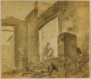 Tekenaars in een ruïne