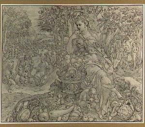 De Smaak; rechts De zondeval (Genesis 3:1-6); links De vermenigvuldiging van broden en vissen (Matthëus 14:13-21)