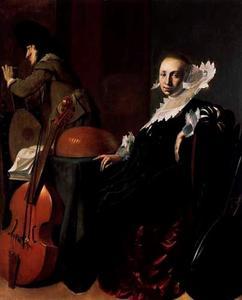 Zittende jonge vrouw en staande jonge man met muziekinstrumenten in een interieur