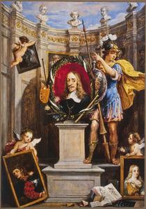 Portret van Leopold Wilhelm, aartshertog van Oosternrijk (1614-1662), gouverneur van de Zuidelijke Nederlanden: ontwerp voor de titelpagina van het Theatrum Pictorium