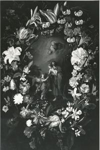 Sint Jozef met het Christuskind, omgeven door een bloemkrans