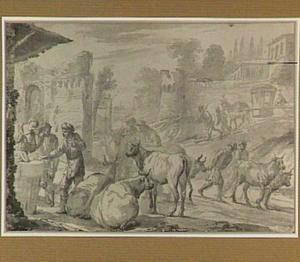 Italianiserend stadsgezicht met figuren en vee