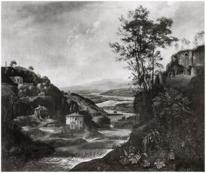 Bergachtig rivierlandschap met de tempel van Vesta