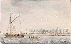 Spiegelschip op de Schelde voor het Fort Liefkenshoek