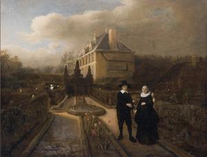 Dubbelportret van Jan Cornelisz. Vijgeboom (..-1665) en zijn vrouw Anneken Joosten Boogaert (..-1650) in de tuin van hun landhuis te Dubbeldam