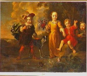 Groepsportret van vier onbekende kinderen