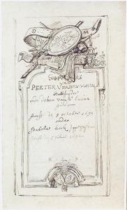 Ontwerp voor een grafsteen voor Peter Verbruggen (II) (1648-1691) en zijn vrouw Isabella Heck (ca.1664-1692)