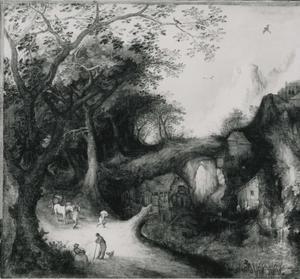 Rotsachtig landschap met een weg met figuren