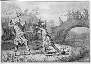 Uffe, zoon van Koning Vermund, verslaat twee Saksen op een eilandje in de Eider