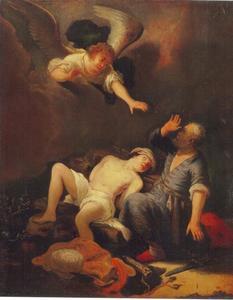 De engel weerhoudt Abraham om Isaak te offeren (Genesis 22:12)