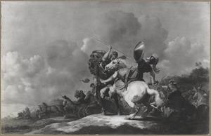 De dodelijke verwonding van koning  Achab door een pijl  (I Koningen 22:34)